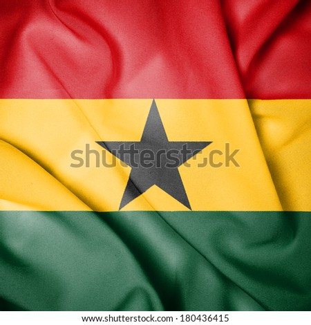 Waving Flag of Ghana - stock photo