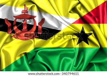 Waving flag of Ghana and Brunei - stock photo