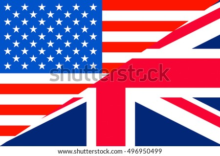 Waving flag of Great Britain and USA