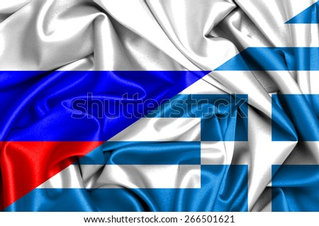 Waving flag of Greece and Russia