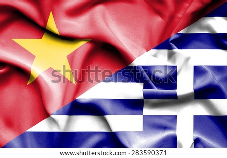 Waving flag of Greece and Vietnam