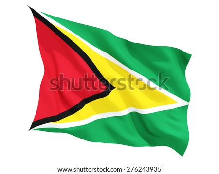 Waving flag of guyana isolated on white
