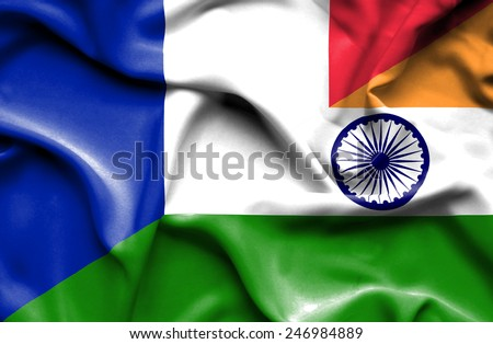 Waving flag of India and France - stock photo