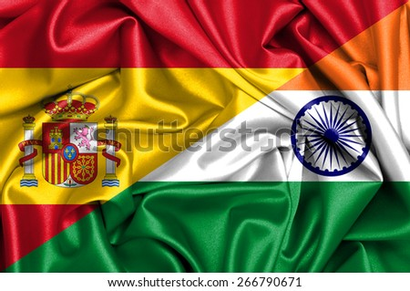 Waving flag of India and Spain - stock photo