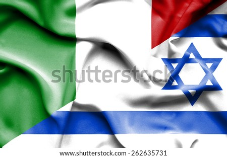 Waving flag of Israel and Italy - stock photo
