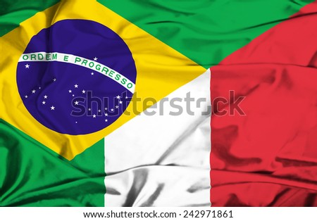 Waving flag of Italy and Brazil - stock photo
