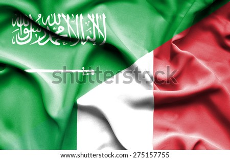 Waving flag of Italy and Saudi Arabia