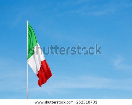 Waving flag of Italy on a sky background - stock photo