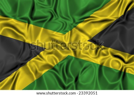 Waving flag of Jamaica - stock photo