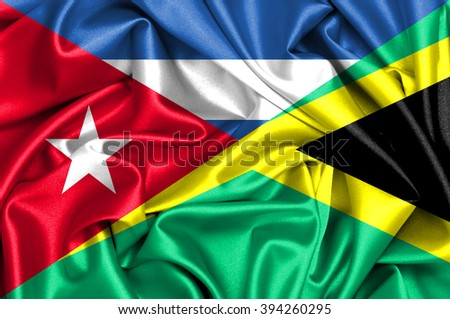 Waving flag of Jamaica and Cuba