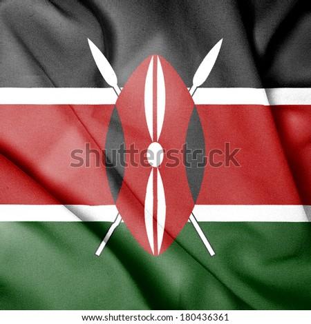 Waving Flag of Kenya - stock photo