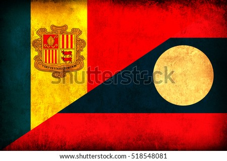 Waving flag of Laos and Andora