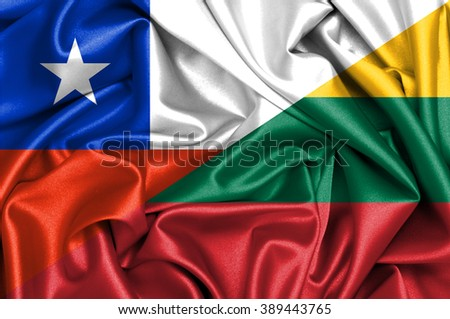 Waving flag of Lithuania and Chile