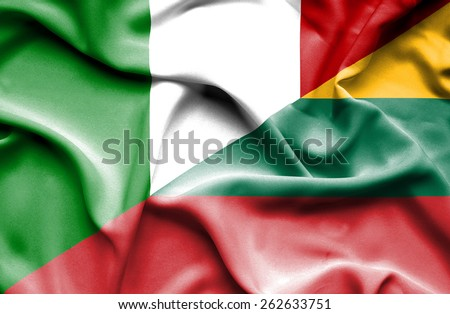 Waving flag of Lithuania and Italy