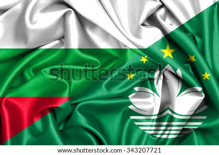 Waving flag of Macau and Bulgaria