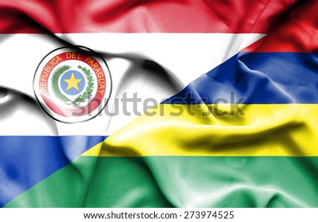 Waving flag of Mauritius and Paraguay