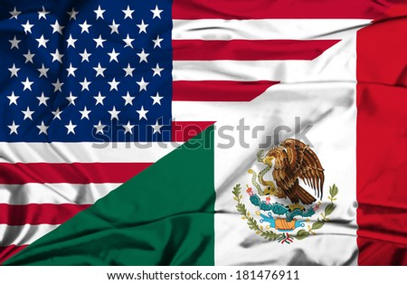 Waving flag of Mexico and USA - stock photo