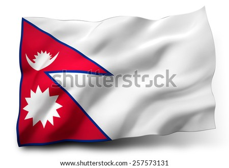 Waving flag of Nepal isolated on white background - stock photo
