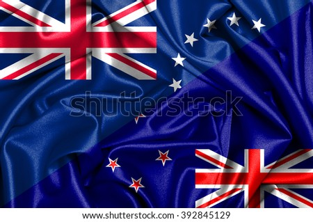 Waving flag of New Zealand and Cook Islands