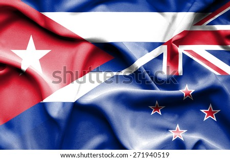 Waving flag of New Zealand and Cuba