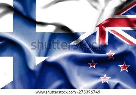 Waving flag of New Zealand and Finland