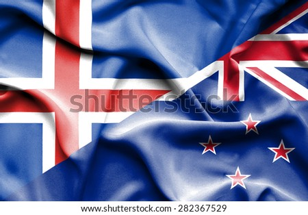 Waving flag of New Zealand and Iceland