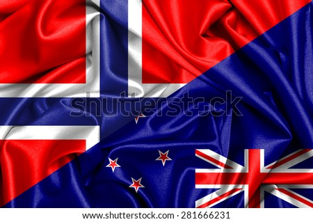Waving flag of New Zealand and Norway - stock photo