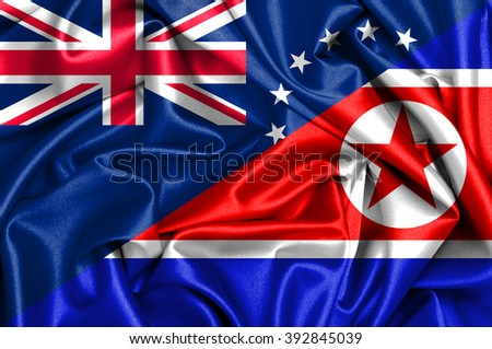 Waving flag of North Korea and Cook Islands