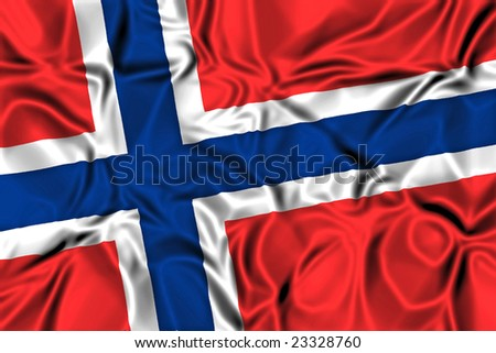 Waving flag of Norway - stock photo