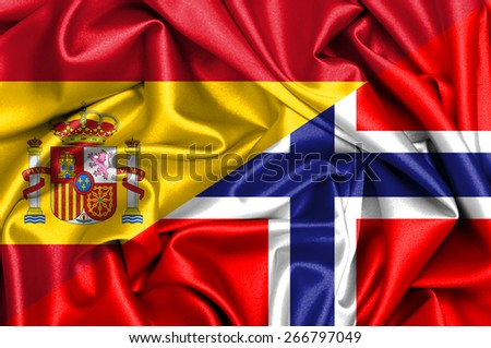 Waving flag of Norway and Spain - stock photo
