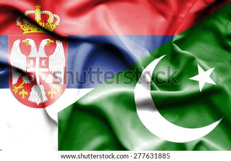 Waving flag of Pakistan and Serbia