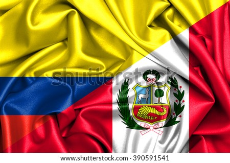 Waving flag of Peru and Colombia