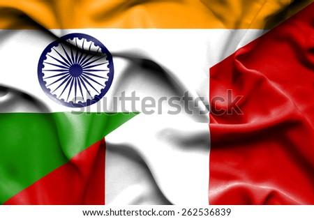 Waving flag of Peru and India - stock photo