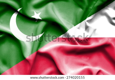 Waving flag of Poland and Pakistan
