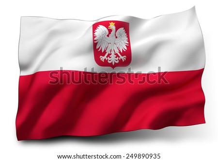 Waving flag of Poland isolated on white background - stock photo