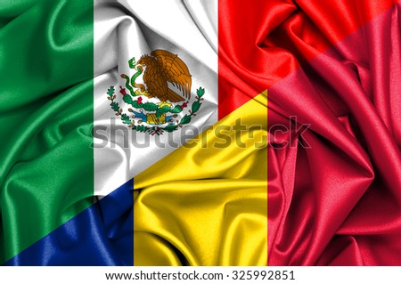 Waving flag of Romania and Mexico
