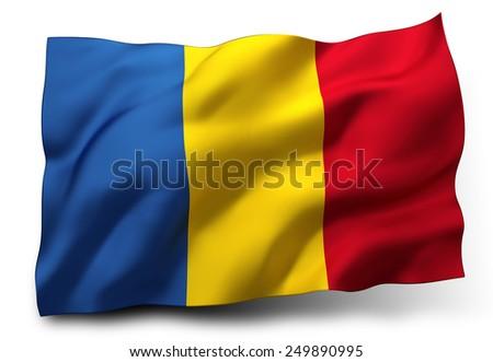 Waving flag of Romania isolated on white background - stock photo