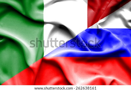 Waving flag of Russia and Italy
