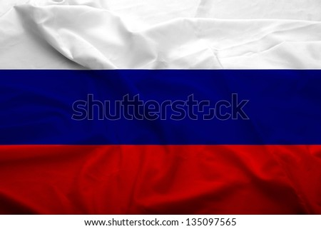 Waving flag of Russian Federation. Flag has real fabric texture. - stock photo