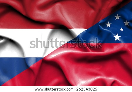 Waving flag of Samoa and Netherlands