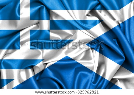Waving flag of Scotland and Greece