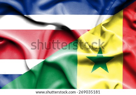 Waving flag of Senegal and Costa Rica