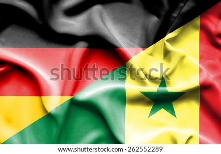 Waving flag of Senegal and Germany