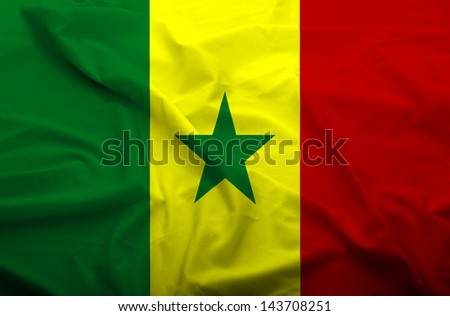 Waving flag of Senegal. Flag has real fabric texture. - stock photo