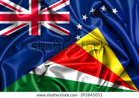 Waving flag of Seychelles and Cook Islands