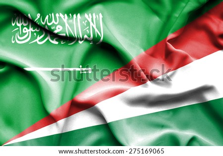Waving flag of Seychelles and Saudi Arabia