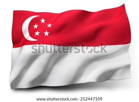 Waving flag of Singapore isolated on white background - stock photo