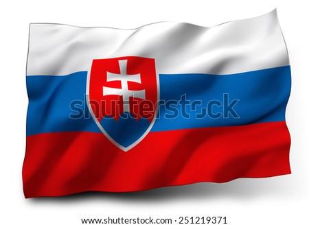 Waving flag of Slovakia isolated on white background - stock photo