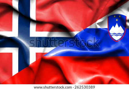 Waving flag of Slovenia and Norway - stock photo