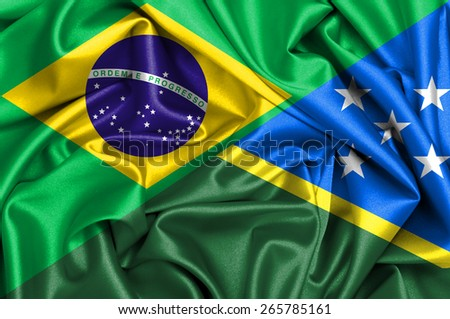 Waving flag of Solomon Islands and Brazil